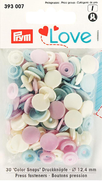 Prym Love Colour Snaps 12mm rose/light blue/pearl